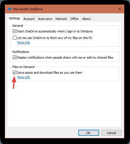 Configurações do OneDrive