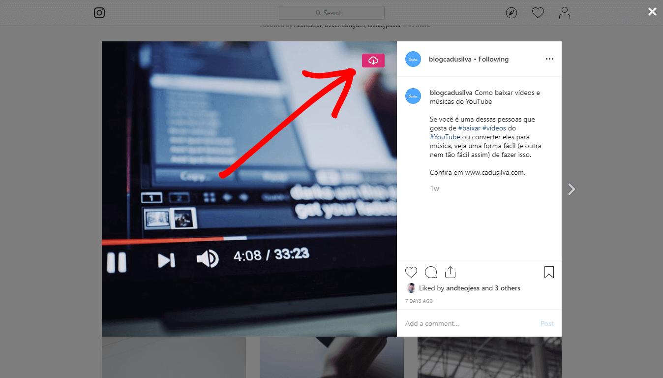 Botão de baixar do Instagram