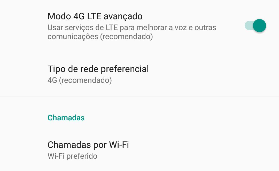 Aparelho Motorola compatível com VoLTE e WiFi Calling
