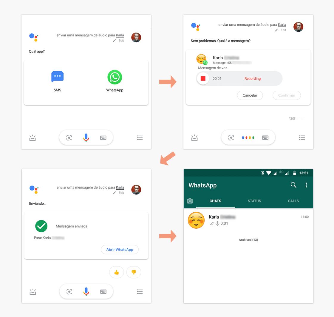 Envio de mensagem de áudio para o WhatsApp via Google Assistente