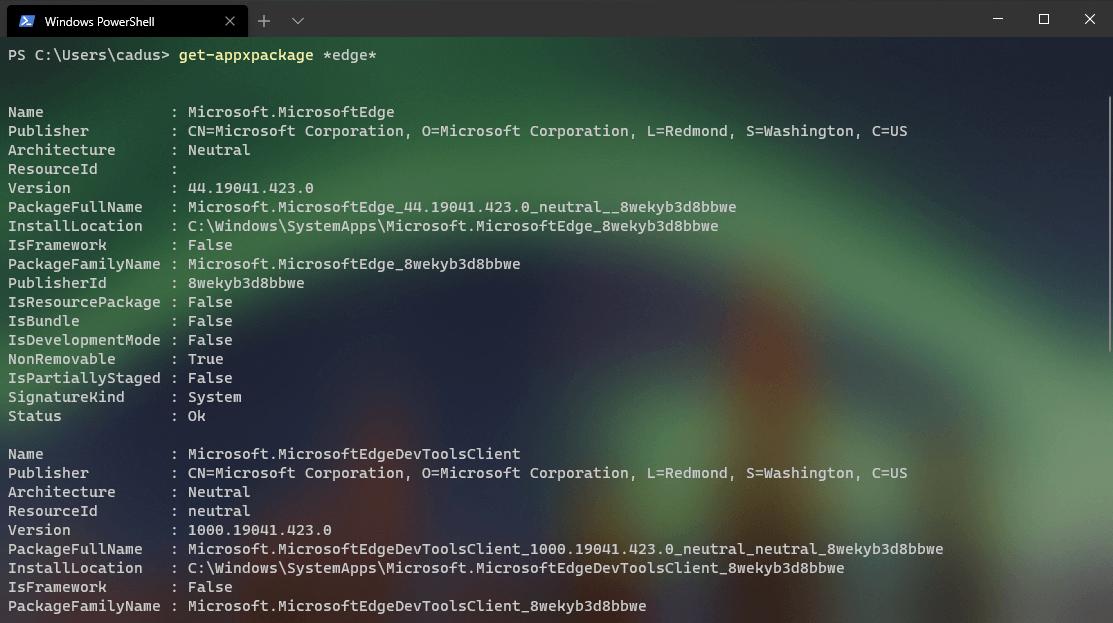 Usando o PowerShell para desinstalar o Microsoft Edge