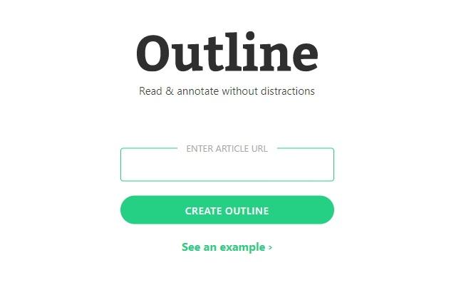Página inicial do Outline