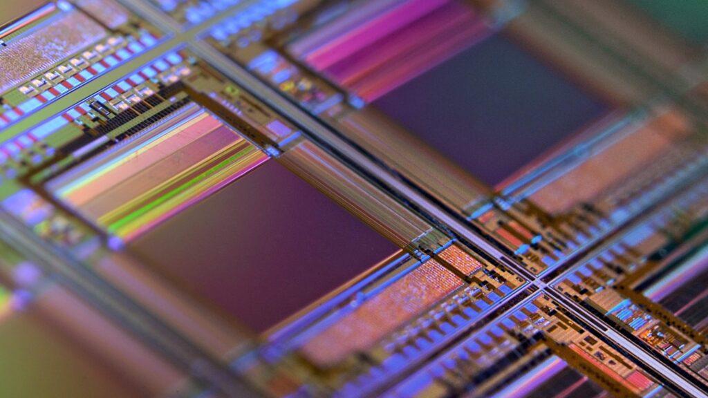 Interior de chips de silício